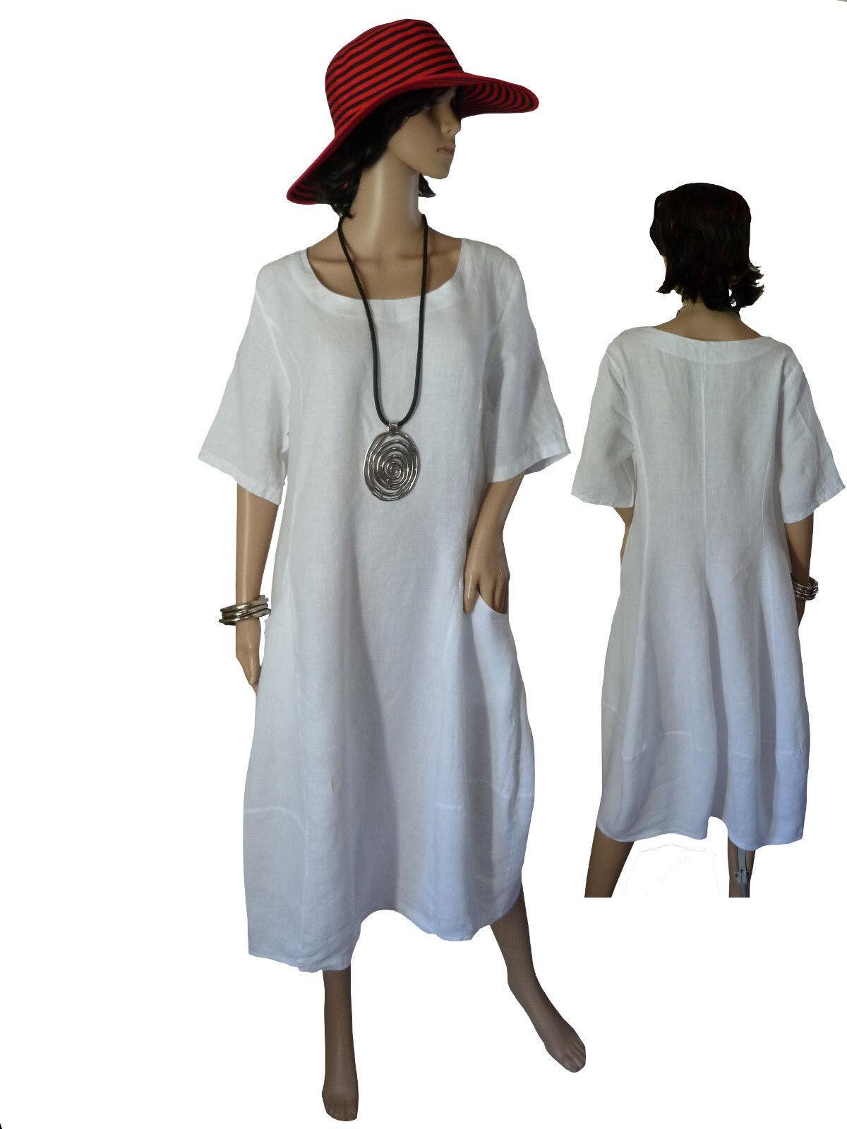 Gr.40-50 Kleid Leinenkleid Sommerkleid Kurzarmkleid Weiß Italien LAGENLOOK