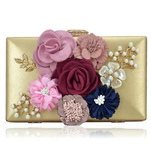 Dasein-Women-Handbags-Satin-Evening-Clutch-Bag-Flower-Shoulder-Purse-Bag