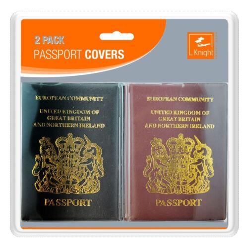 2 x Passeport Housse//Support Voyage Protecteur-Noir /& Bordeaux-ROYAUME-UNI Européen