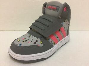 Details about Adidas Girls Hoops Mid Purple Grey Hi Top Trainers Shoes