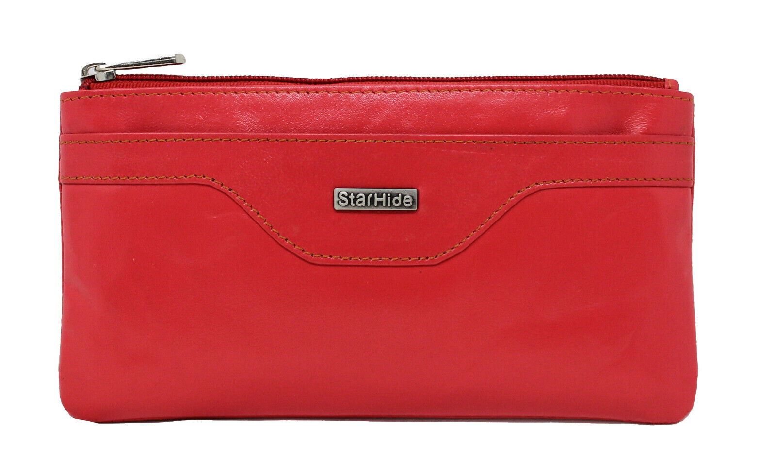Ladies RFID Blocking Leather Pouch Purse Red
