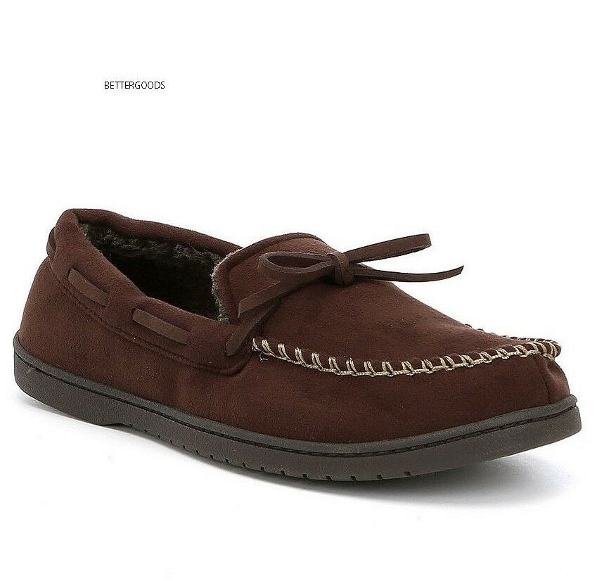 ROUNDTREE & YORKE men's Memory Foam MOCCASIN HOUSE SLIPPERS shoes BROWN 11-12 L