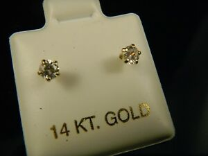 Details About Baby Or Toddler S Real 14 Kt 2 Mm Cz Stud Earrings With Safety Backs