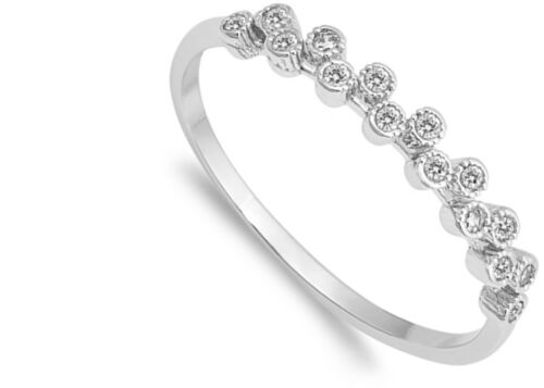 Round Clear CZ Bubble Fashion Cute Ring New .925 Sterling Silver Band Sizes 4-10