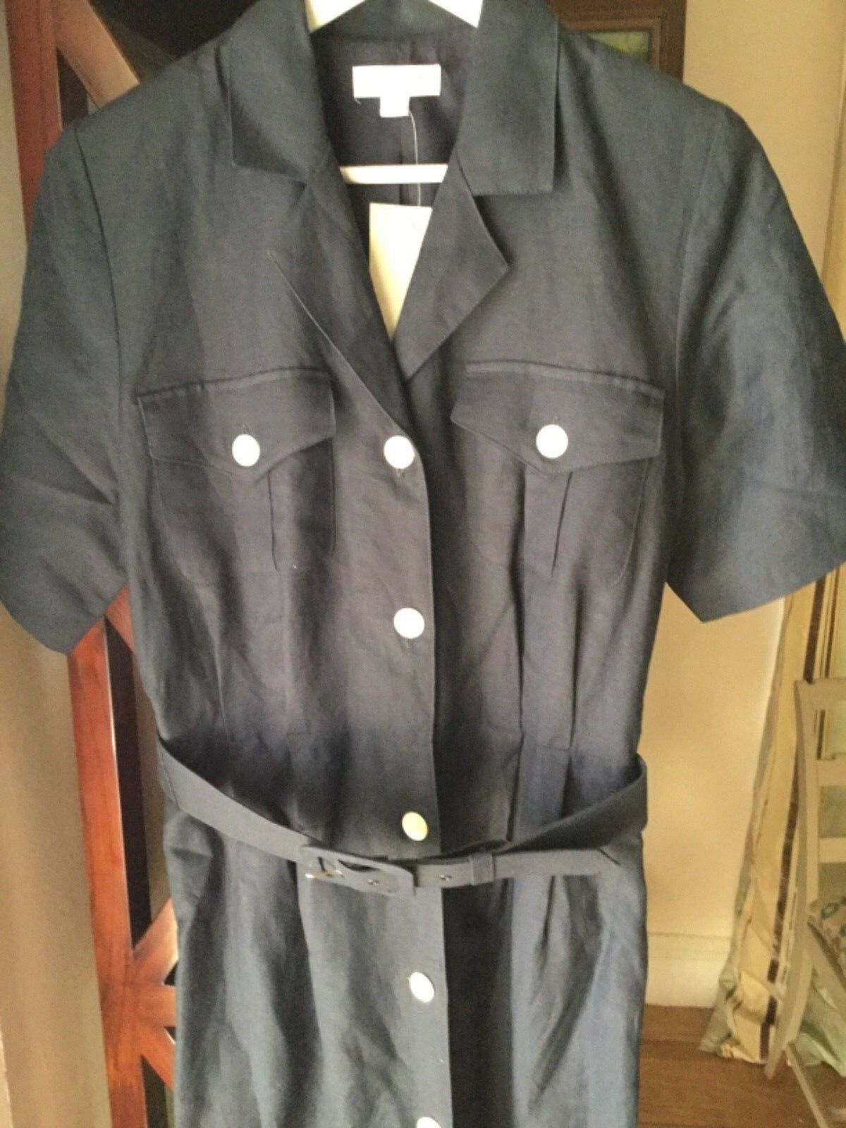 NEW Brooks Bredhers Womens Navy 100% Linen Belted and Fully Lined Shirtdress - 8
