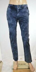 Jeans-Uomo-Pantaloni-ISF-Slim-Fit-H006-5-Tasche-Blu-Tg-32