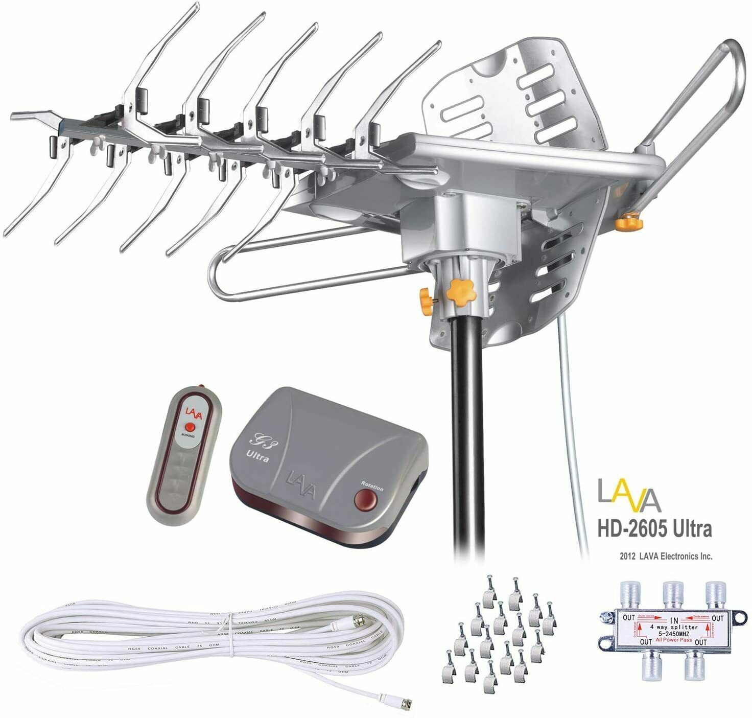 LAVA HD2605 Outdoor HD TV Antenna Remote Controlled Rotation 4K TV with Kit. Available Now for 74.95