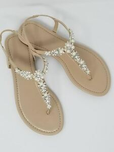 Image is loading Beach-Wedding-Bridal-Sandals-with-Pearl-and-Crystal-
