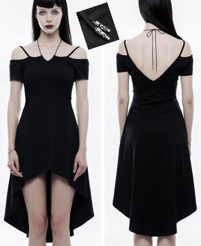 Asymmetrisch Rückenfrei Schleppe Kleid Gothic Lolita Barock Party Abend Punkrave