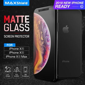 best loved 943f4 fa927 Details about MAXSHIELD Matte Tempered Glass Screen Protector For Apple  iPhone X Xs Max XR