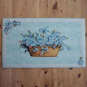 Shabby-Chic-Frances-Vintage-Azul-y-blanco-tela-bienvenida-Felpudo-Flor-CESTO