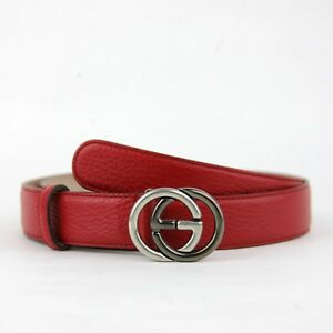 09efe09f8 Gucci Unisex Red Leather Belt w/Silver/Black Interlocking G Buckle ...