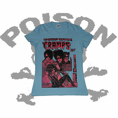 THE CRAMPS UV PINK ON GREEN HORROR PUNK CBGB LADIES FRUIT OF THE LOOM T SHIRT