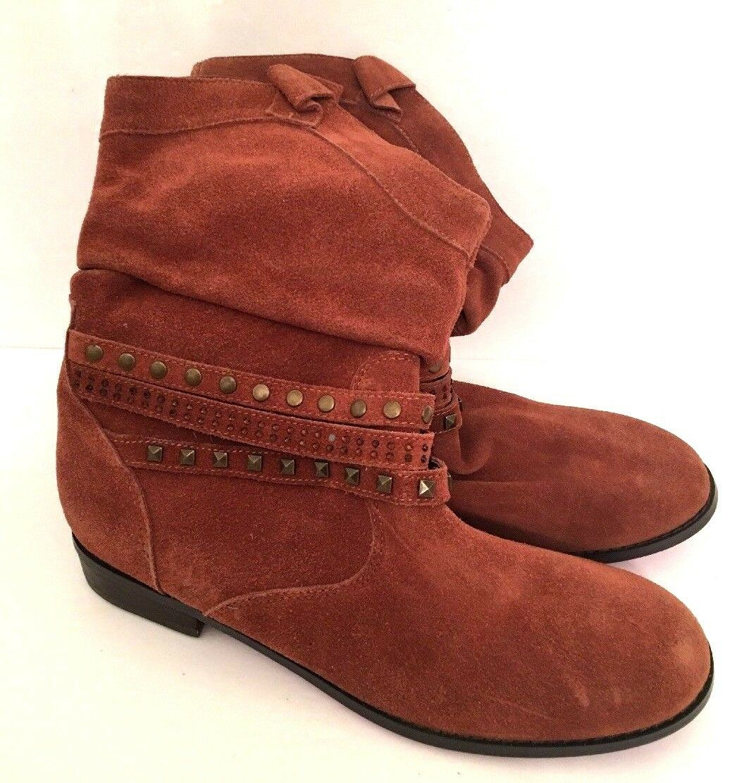 9M Twiggy London Cognac Suede Boots Style 964443 Pink Metallic Soles