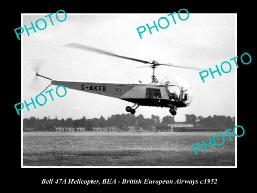 OLD 6 X 4 HISTORIC AVIATION PHOTO OF BELL 47a HELICOPTER c1952, BRITISH AIRWAYS