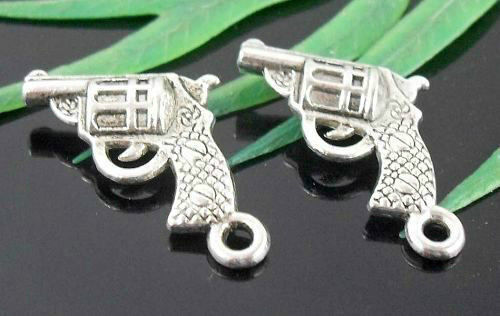 Wholesale 20//44Pcs Tibetan Silver Exquisite pistol  Charms   17x15mm Lead-free