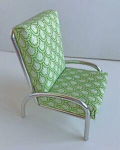 Modern-Solid-Metal-Chair-for-Barbie-Doll-Green-Upholstery-Quality-Work-Diorama