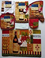 Kitchen Wine Red Linen Placemat 7 Pc Set Select: Cloths Mitt Holders Towel Mat