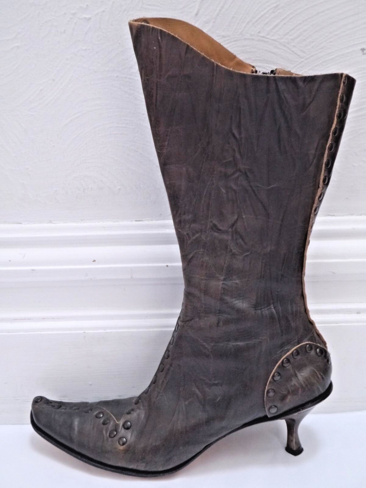 CYDWOQ VINTAGE  524 Bach studded studded studded brown leather boots size 38.5 WORN ONCE 965aa4