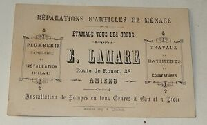 Ancienne CARTE De VISITE E LAMARE Reparations D