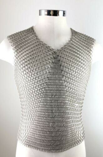 Mild Steel Black Butted Medieval Armor Chainmail Sleeveless Shirt 10MM Ring for