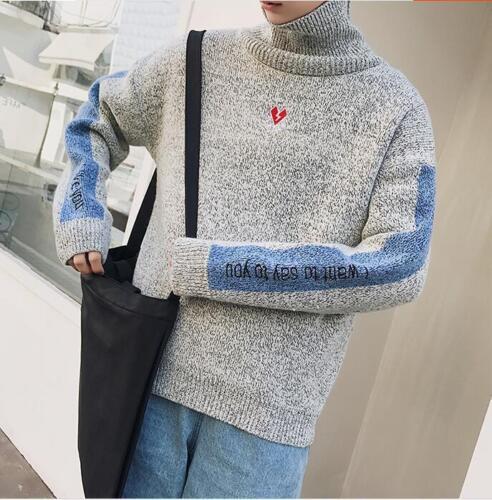 Warm Men Korean Embroidery Fashion Knit Autumn Sweater Casual Wool Turtleneck