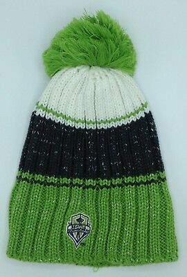Mls Seattle Sounders Fc Adidas Women's Pom Knit Hat Cap Beanie Style #kp60w New Demand Exceeding Supply Basketball Sporting Goods