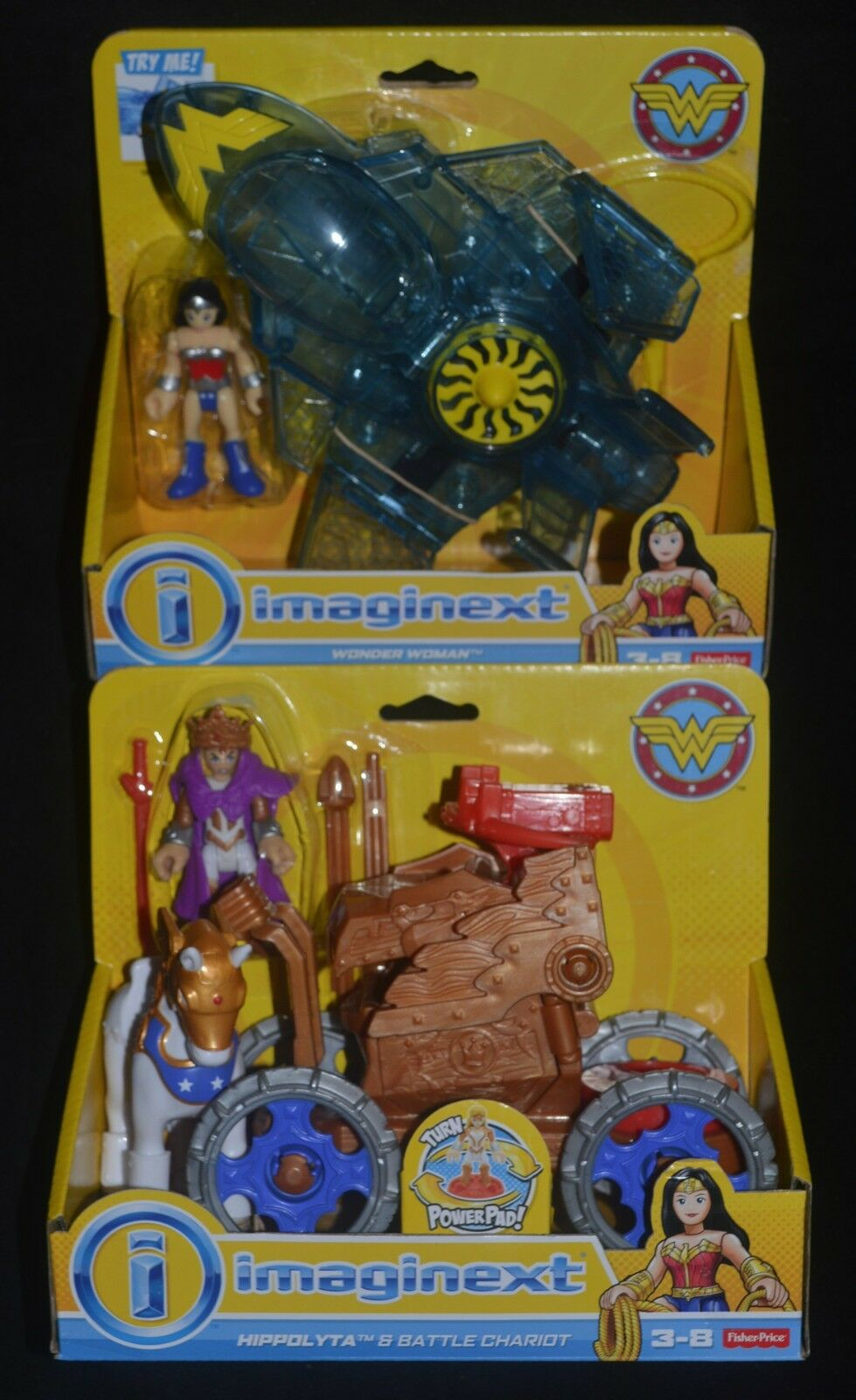 WONDER WOMAN & INVISIBLE JET and HIPPOLYTA & BATTLE CHARIOT DC Imaginext New