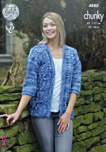 KNITTING PATTERN Ladies Long Cable Jacket /& Cable Cardigan Tonal Chunky 4880