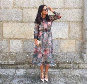 Image Is Loading Elegant Vtg Chiara Fav Green Fl Print Flowing