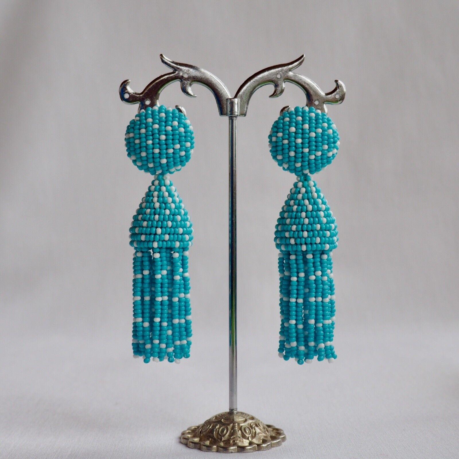 Turquoise Beaded Short  Tassel Oscar De La Renta Jewelry Style Handmade