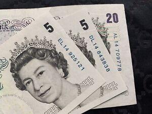 ENGLAND 3x LOWTHER COLUMN SORT £5 £20 Pound Banknote Prefix AL14 DL14 EL14