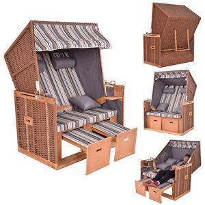 strandkorb ostsee xxl volllieger gartenliege poly rattan gartenm bel 4 kissen ebay. Black Bedroom Furniture Sets. Home Design Ideas