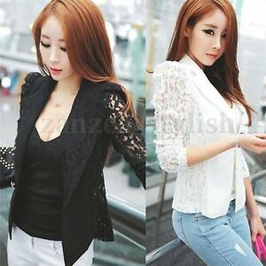 Women-OL-Casual-Suit-Lace-Jacket-Blazer-Plus-Size-Top-Cardigan-Great-S-M-L-XL