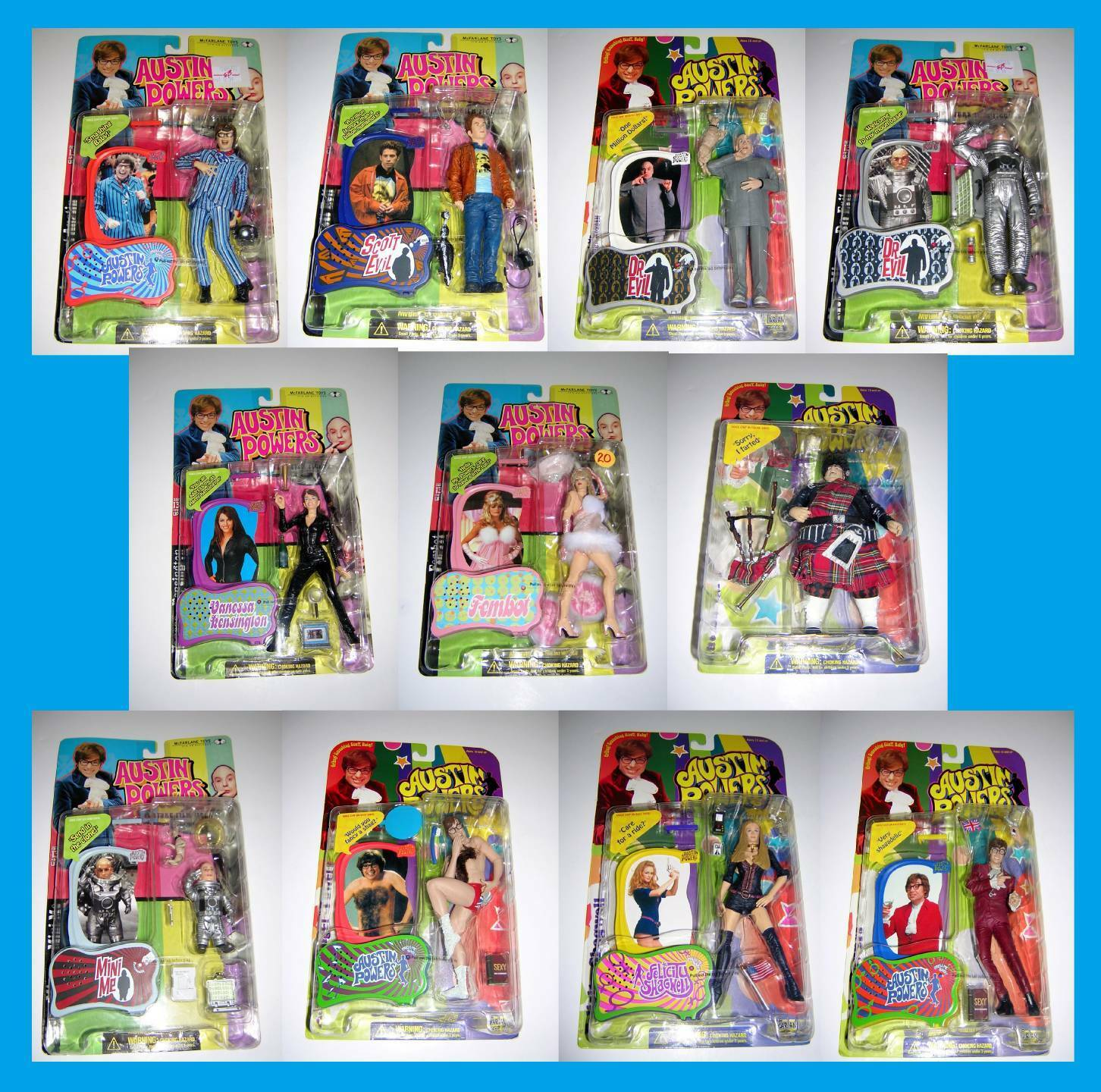 AUSTIN POWERS COLLECTION LOT SET OF 11 MINT-ON-CARD RARE FROM McFARLANE TOYS