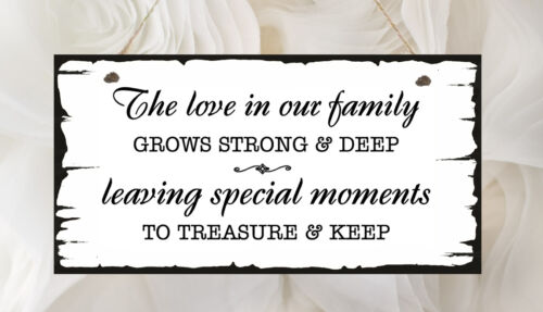 Shabby Family Home Plaque Love In Our Family Special Moments Present Chic Gift