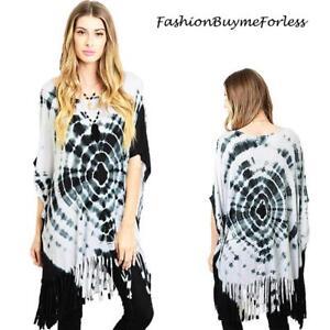 Hippie-BOHO-Gypsy-Black-Tie-Dye-Kimono-Sleeve-Oversize-Fringe-Tunic-Top-S-M-L-XL