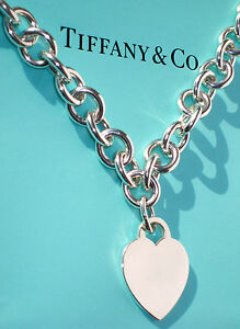 68dbebc54 Tiffany & Co Sterling Silver Heart Tag Charm Choker Necklace | eBay