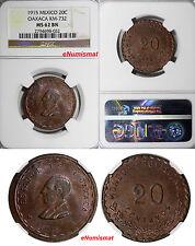 Mexico-Revolutionary OAXACA Copper 1915 20 Centavos NGC MS62 BN KM# 732