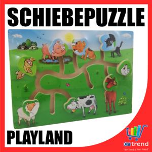 Sonstige Holzspielzeug Schiebe Puzzle aus Holz Bauernhof Tiere Motorikspiel Holzpuzzle Lernspiel WOW