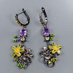 Amethyst Earrings Silver 925 Sterling Fine Art Earrings  /E39726