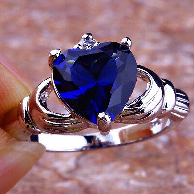 Lover Heart Cut Sapphire Quartz & White Topaz Gemstone Silver Ring Sz 7 8 9 10
