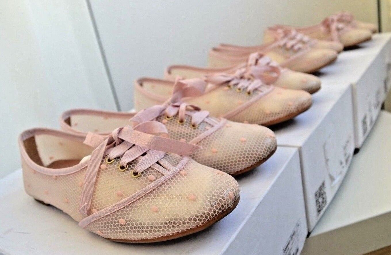 Red Valentino Shoes Handmade  Pink Polka Dot Cute Loafers Lace Pattern
