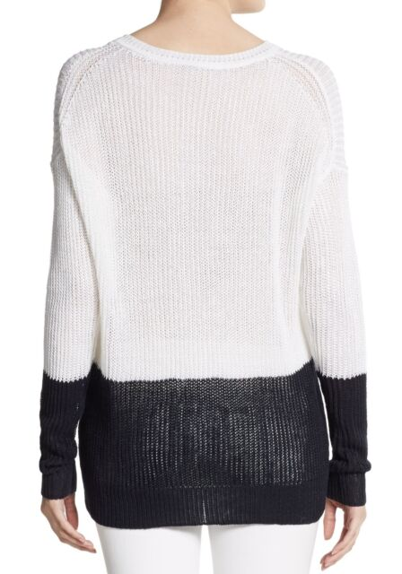 Vince Colorblock Drop Shoulder Knit Pullover Sweater Top WhiteCoast S Nwt $245