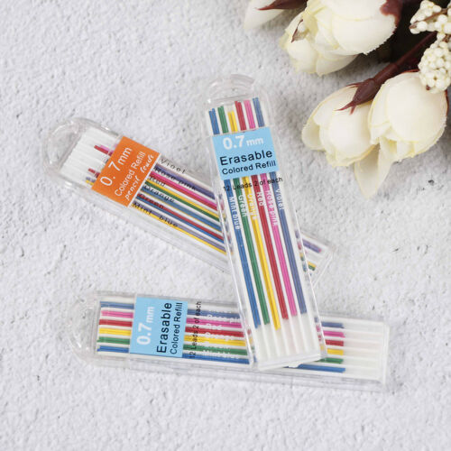 3 Boxes 0.7mm Color Mechanical Pencil Refill Lead Erasable Student Stationary TD