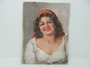 SIGNED-BY-ARTIST-ORIGINAL-OIL-PAINTING-CANVAS-SMILING-WOMAN-12-X-16-034