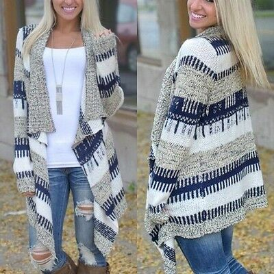 Womens Cardigan Long Sleeve Knitted Sweater Outwear Loose Jacket Coat Outwear Ht