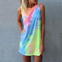 Boho Womens Summer Sleeveless Beach Short Mini Dress Sundress Tank Tops S M L XL