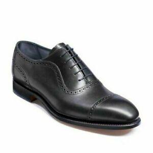 Robe de capuchon d'orteil à lacets en cuir noir véritable pour hommes fait à la
