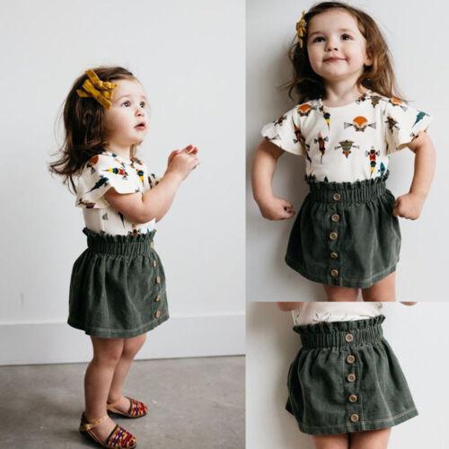 Toddler Kid Baby Girls Tops T-shirt+Skirt Cute Dress Outfits Set Clothes Summer